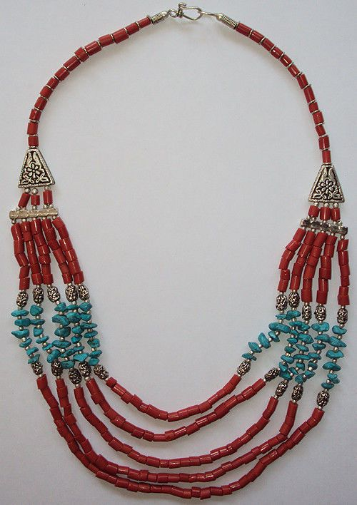 Handmade Ethnic Necklace Chain Red and Green Product #Handmade #Chain