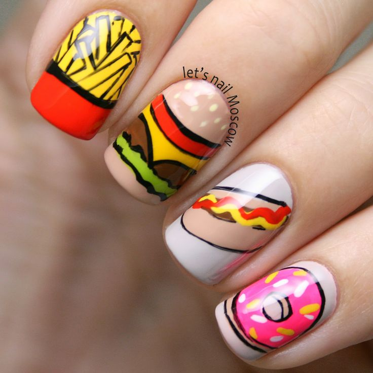 Let S Talk Nail Art: Let's Nail Moscow: Fast Food #nail #nails #nailart