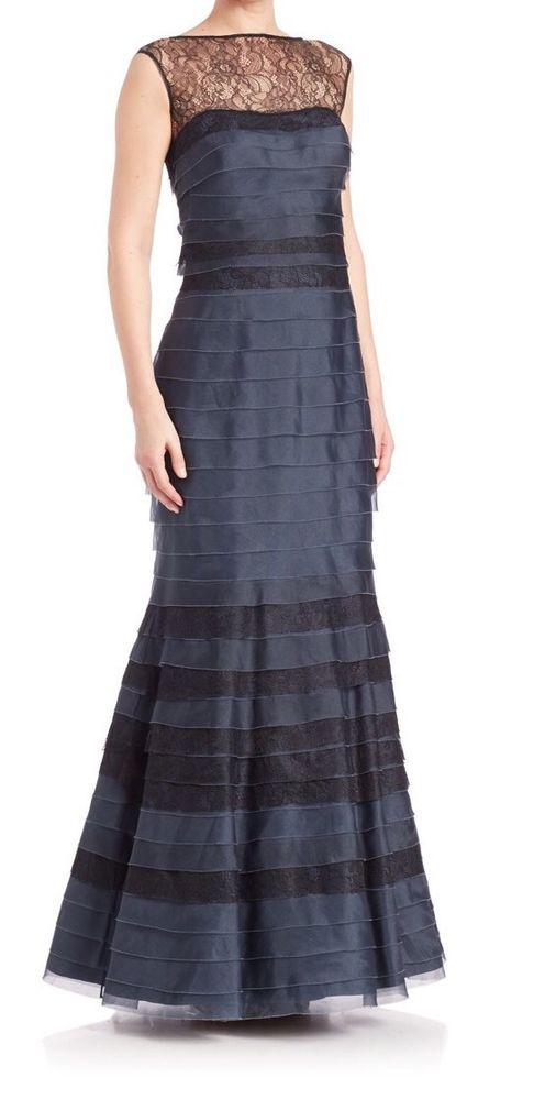 KAY UNGER Navy Blue Silk Organza lace Yoke Tiered Mermaid Gown $750  | eBay