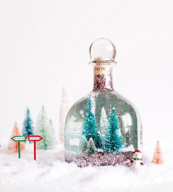 Find out how to make this #DIY Patrón Snow Globe featuring the Patrón Silver Limited-Edition 1-Liter bottle.