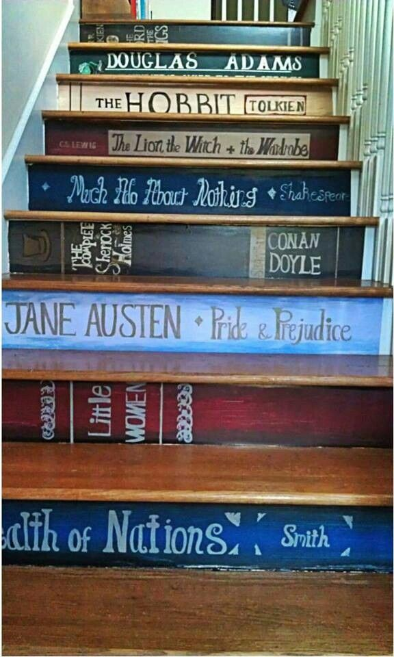 love this idea...although it would never stay permanent. every book could be a new favourite and there's not enough stairs in one house to express them all!