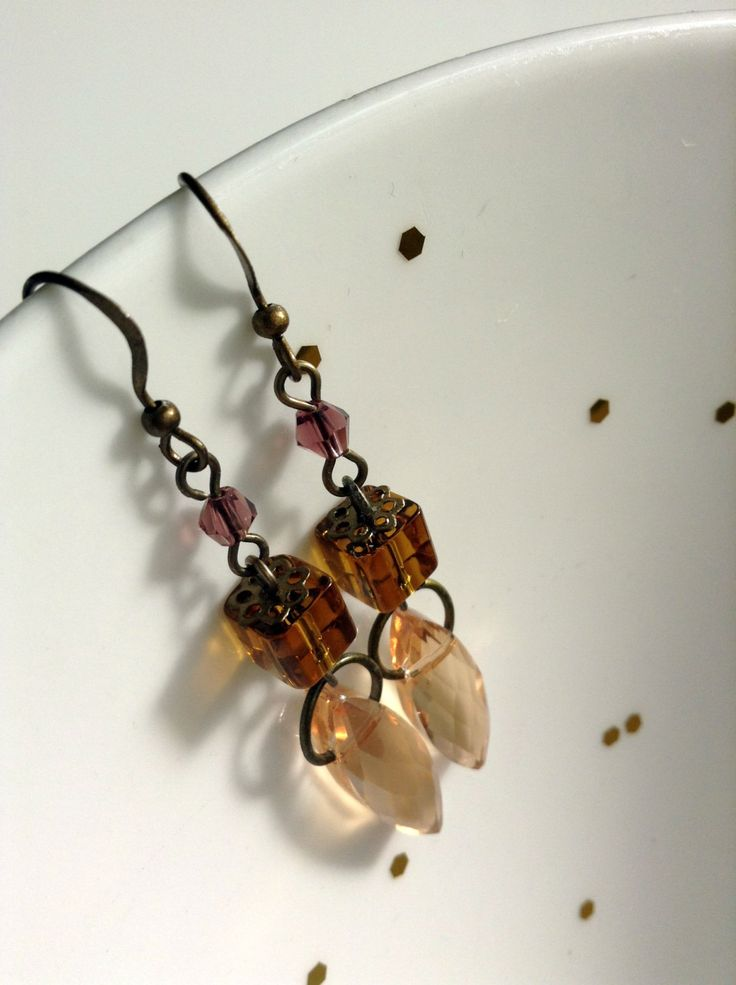 Brown ans beige crystal dangle & drop earrings by ViewofBeauty on Etsy