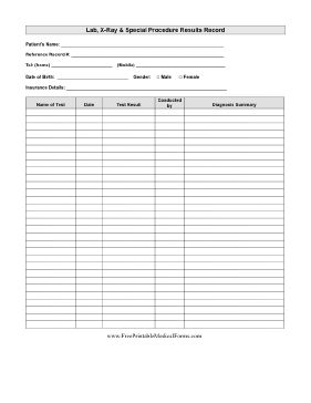lab results record printable medical form free to download and