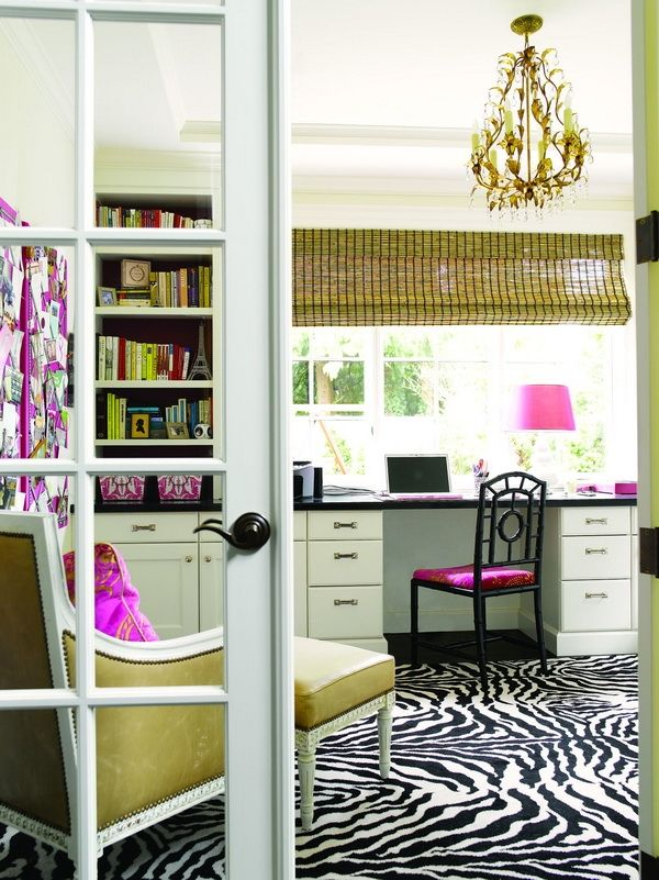 This Room As A Home Office Would Inspire Me To Domestic Bliss. The Pops Of  Pink, Pretty Chandelier, Butter Leather Chair, Inspiration Board And Zebra  Rug.