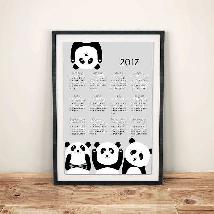 Pandas calendar 2017, animal calendar, calendar for kids, nursery dekor, nursery wall art, kids room, boys and girls, happy sweet pandas, by GrafPoster on Etsy