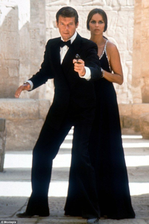 Actors Roger Moore and Barbara Bach in the 1977 James Bond film The Spy Who Loved Me...