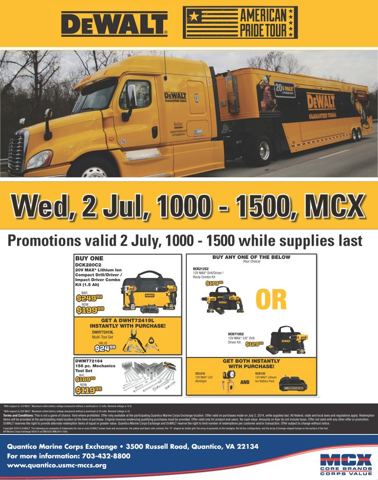 DeWALT American Pride Tour, MCX Parking Lot, 1000-1500. http://www.mymcx.com/index.cfm/locations/Quantico/