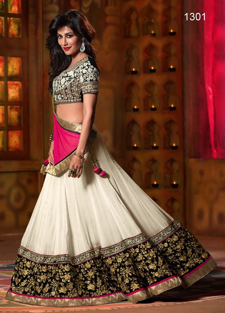 White Net Lehenga With Hot Pink Dupatta At Aimdeals.com