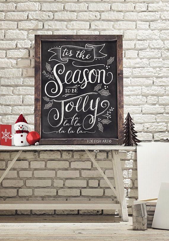 Tis the Season to be Jolly  Christmas Chalkboard Art by ToeFishArt