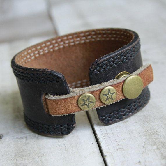 Brown Leather Cuff Bracelet Upcycled Belt by orangeandprairie