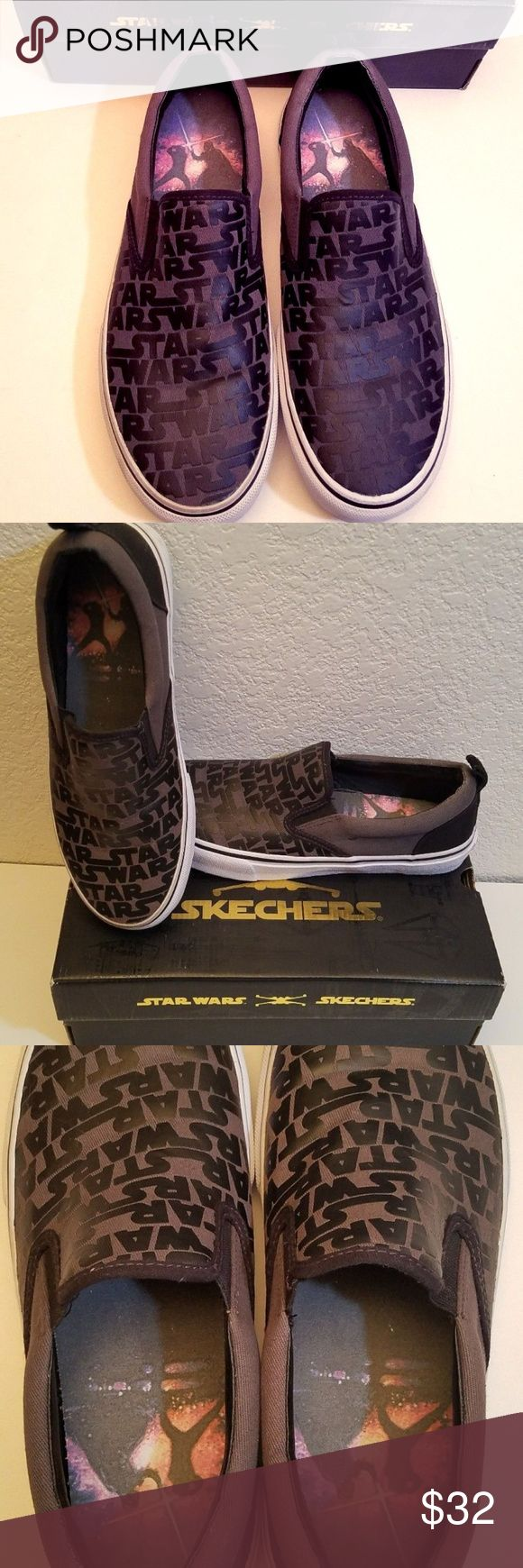 Star Wars Sketchers Mens Slip on Shoes New w/ Box Star Wars Sketchers mens ship on shoes, size 9 I got them for Xmas and they are too big for me They have never been worn, comes with the original box, doesn't include original tags. Sketchers Shoes Loafers & Slip-Ons