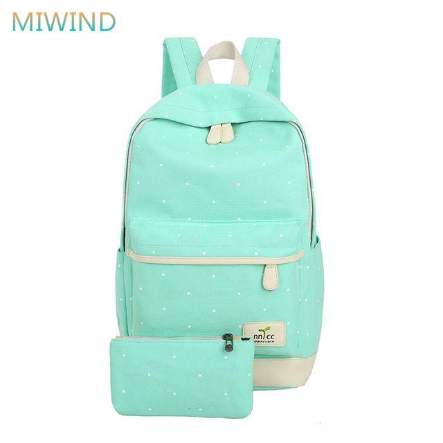 Miwind 2017 mujeres de la lona de gran capacidad mochila mochilas escolares para adolescentes dot impresión mochilas para niñas mochila escolar cb203