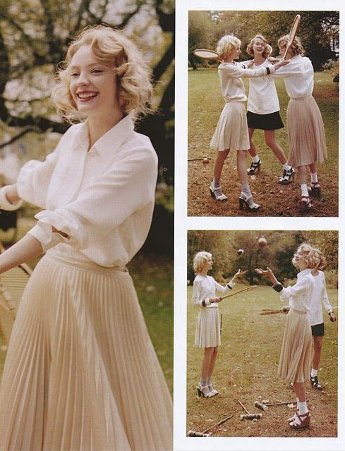 Jeff Bark, Marie ClaireMidi Skirts, Blouses, Curls, Mary Claire, Jeff Bark, Socks Hop, April 2011, Fashion Editorial, Pleated Skirts