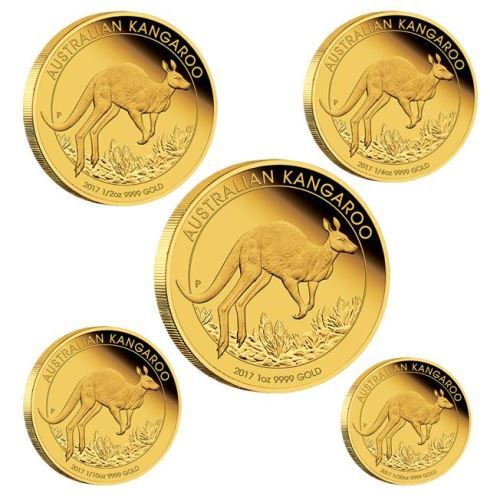 Buy the Australian Kangaroo 2017 Gold Proof Five-Coin Set from The Perth  Mint, featuring: