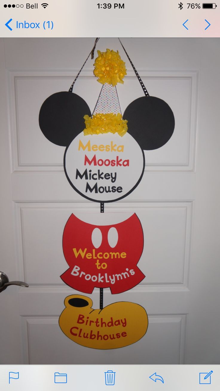 Mickey Mouse themed birthday door sign