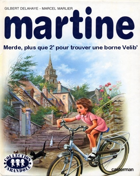 Martine : merde, plus que 2' pour trouver une borne Vélib'