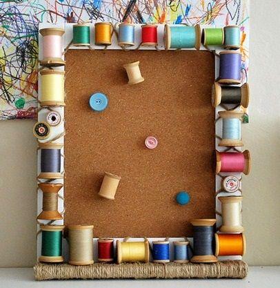 Ideas carretes de hilo vacios los elementos necesarios - Como decorar un cuadro de madera ...