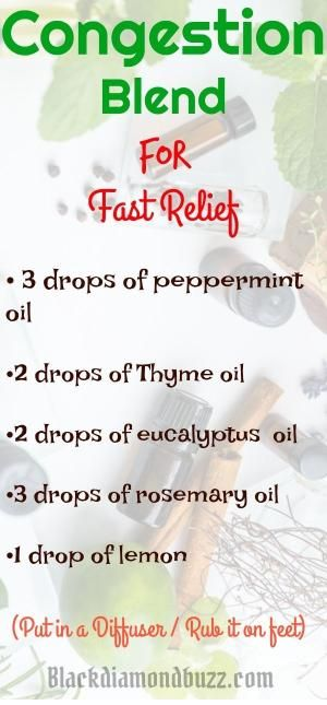 Essential Oil Congestion,sinus and cold Blend Diffuser Recipe. 3 drops of peppermint essential oil 2 drops of Thyme essential oil 2 drops of eucalyptus essential oil 3 drops of rosemary essential oil 1 drop of lemon by jenna