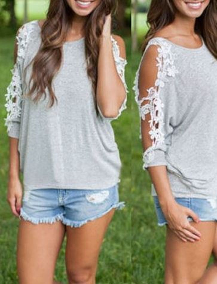 Love the Cold Shoulder Lace Sleeves! Comfy + Sexy Three Quarter Sleeve Scoop Neck Spliced Hollow Out Women's T-Shirt
