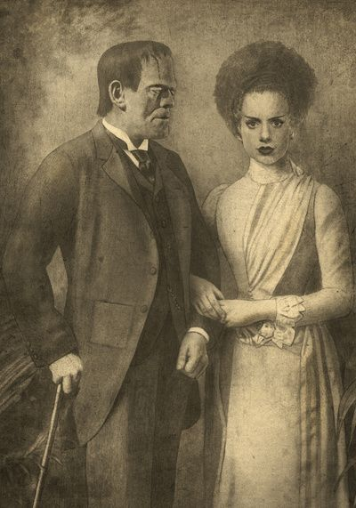 """Mr. and Mrs. Frankenstein  Art Print"" .... No!!! Get the story right... Frankenstein is the creator OF the monster! Oi."