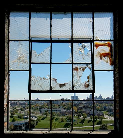 View from inside Detroit's abandoned Fisher Body plant.