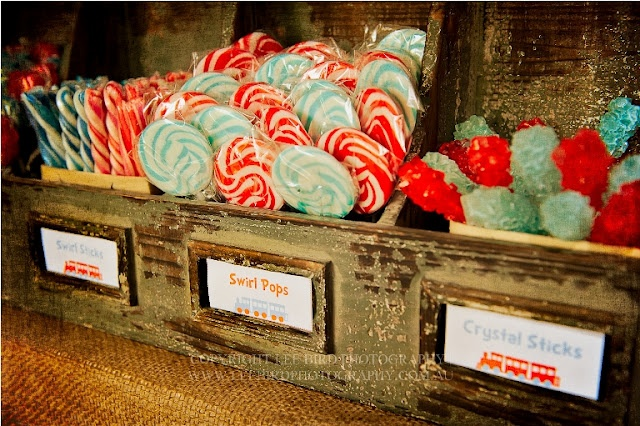 I love the look of old time candy. This is a picture from a really cool vintage train party idea!
