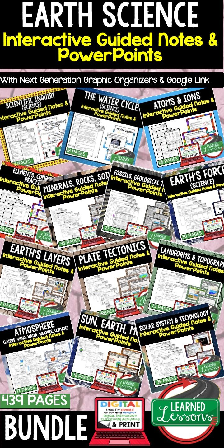 Earth Science Guided Notes & PowerPoints NGSS BUNDLE Google