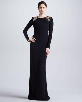 Versace Embellished Shoulder Long-Sleeve Gown, Black