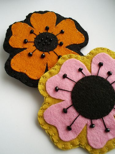 felt flowers, I made the yellow and pink one, it turned out really good