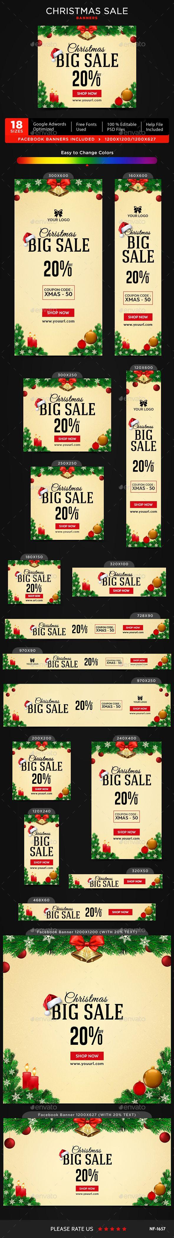 Christmas Banners Template PSD #xmas #ads
