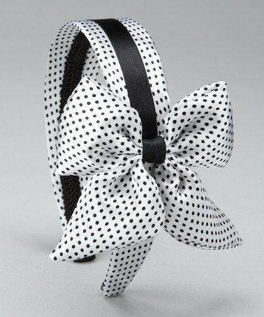 Take a look at this White & Black Polka Dot Bow Headband by SBNY Petite on #zulily today!
