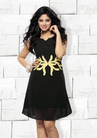 Black Polyester Georgette Ready Made Kurti