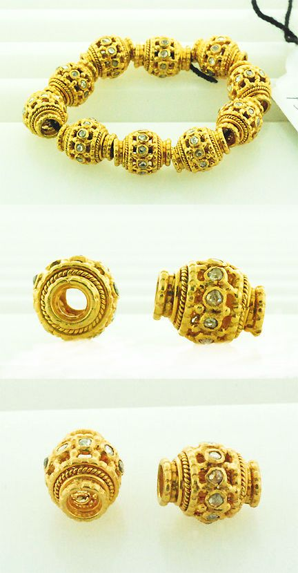 Spacers 67713: Indian Ethnic Look Bead Spacer Finding 18K Yellow Gold Handmade Women S Jewelry -> BUY IT NOW ONLY: $62 on eBay!