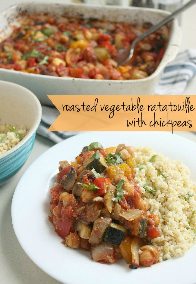 Easy roasted vegetable ratatouille with chickpeas