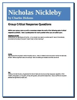 This assignment allows students to work together to come to a deeper understanding of the novel Nicholas Nickleby by Charles Dickens and its components. They answer a set of higher-level questions concerning such elements as theme, point of view, literary devices, etc.
