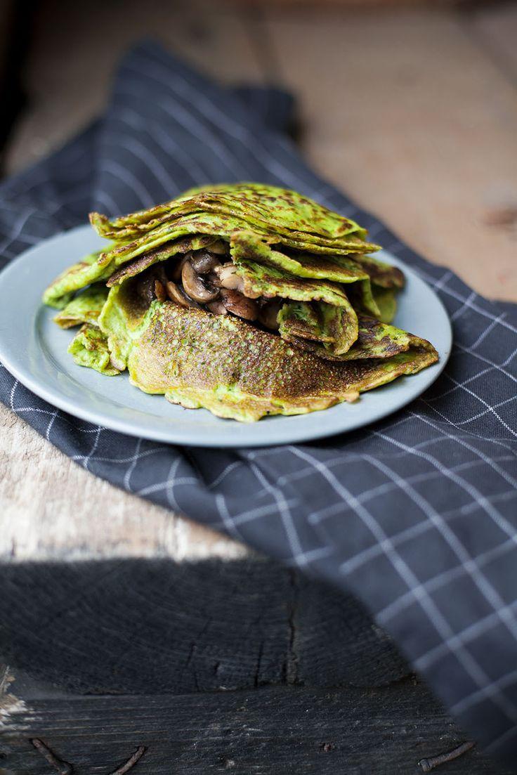 Crepes med grönkål, receptet finns här: http://martha.fi/sv/radgivning/recept/view-93381-4490