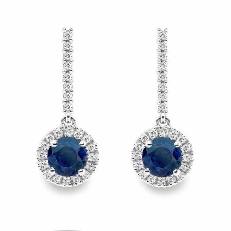 Blue Sapphire Halo Design Drop Earrings in 18K White Gold | The Diamond Channel, Johannesburg
