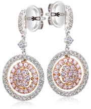 18ct White and Rose Gold Diamond Earrings from Hardy Brothers Jewellers.