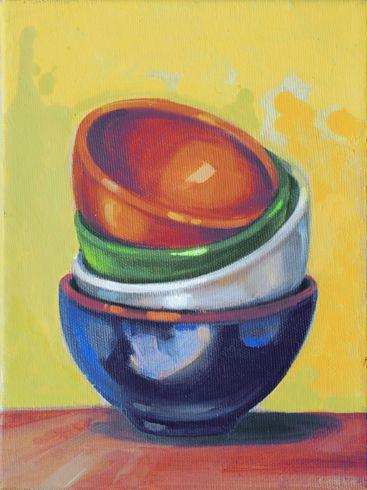 """""""In pila"""" 2008, olio su tela, cm 24 x 18"""