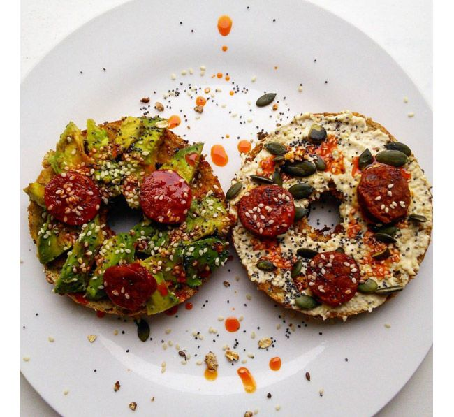 These multigrain bagels with two different toppings will keep you energised all morning and they are so simple to make.