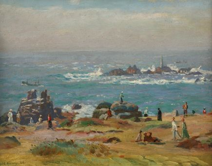 Harold Harvey - Newlyn School of Artists - Penlee House Gallery and Museum Penzance Cornwall UKThe Longships Lighthouse, Land's End, 1936 Oil on canvas. Private collection.