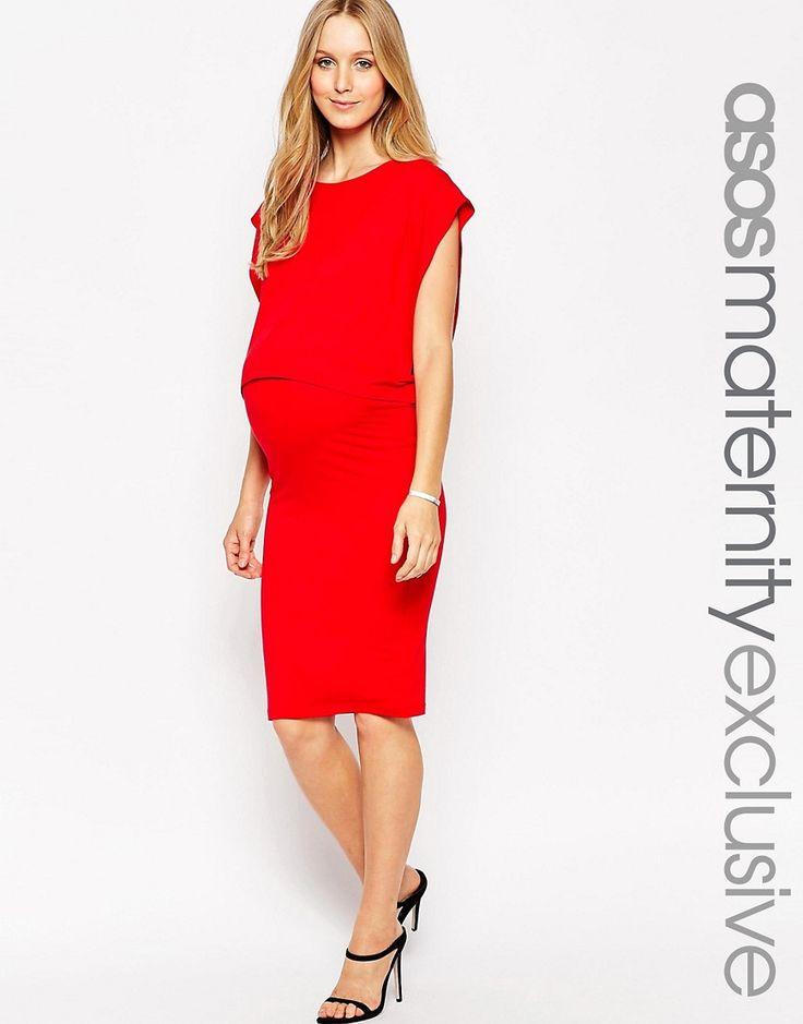 ASOS+Maternity+NURSING+Midi+Column+Dress+With+Double+Layer