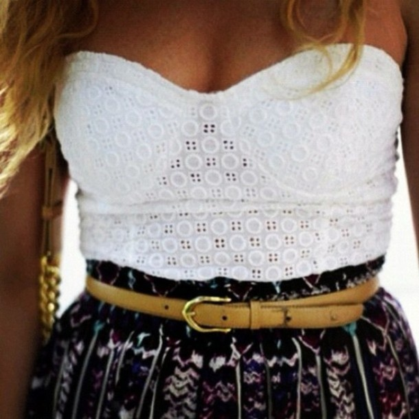 shirt, corset top, corset, white, belt, skirt, aztec skirt, lace, patterns, top, crop top - Wheretoget
