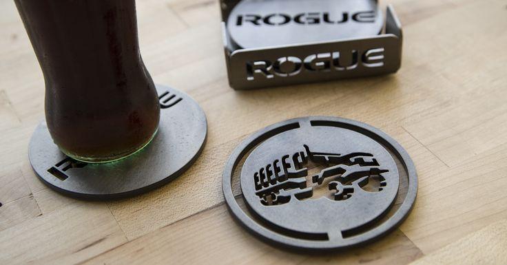 laser-cut steel coasters