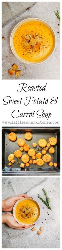 Creamy roasted sweet potato soup with carrots that can be ready in under 40 minutes!