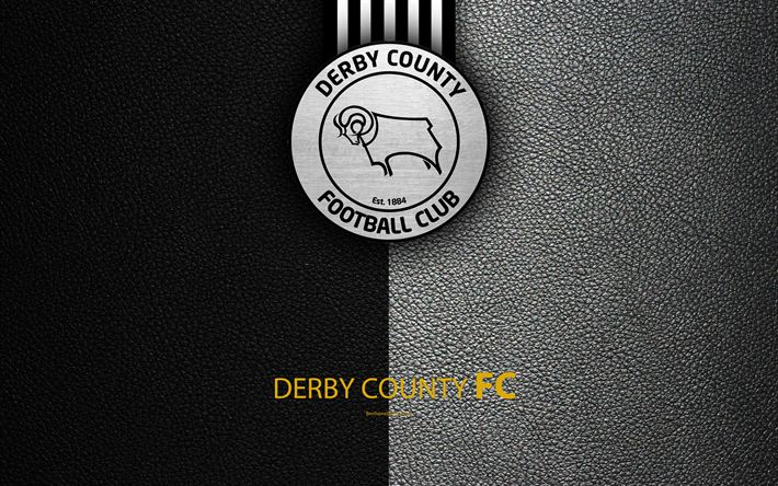 Download wallpapers Derby County FC, 4K, English football club, logo, Football League Championship, leather texture, Derby, UK, EFL, football, Second English Division