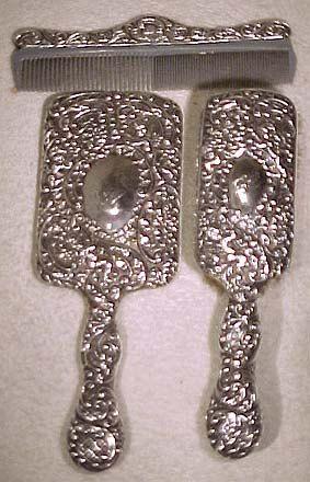 Sterling Silver Cherubs Brush Mirror & Comb Set 1890 to 1900