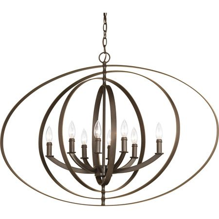 Inspired by ancient astronomy armillary spheres. Oversized oval fixtures are new additions to the stunning Equinox collection. Eight-light candelabra pendant is ideal for linear installations over a farmhouse table, dining room setting or kitchen island. Available in Burnished Silver or Antique Bronze finishes