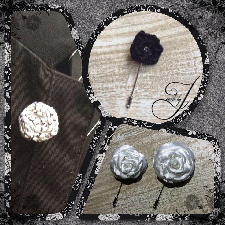 Etentjes, borreluurtje en feestjes weer dat saaie colbertje aan. Dat is nu voorbij met deze feestelijke lapelflowers. Zilver, black en White Rose. Kijk op www.madebyj.nl en ook te vinden op Facebook!!