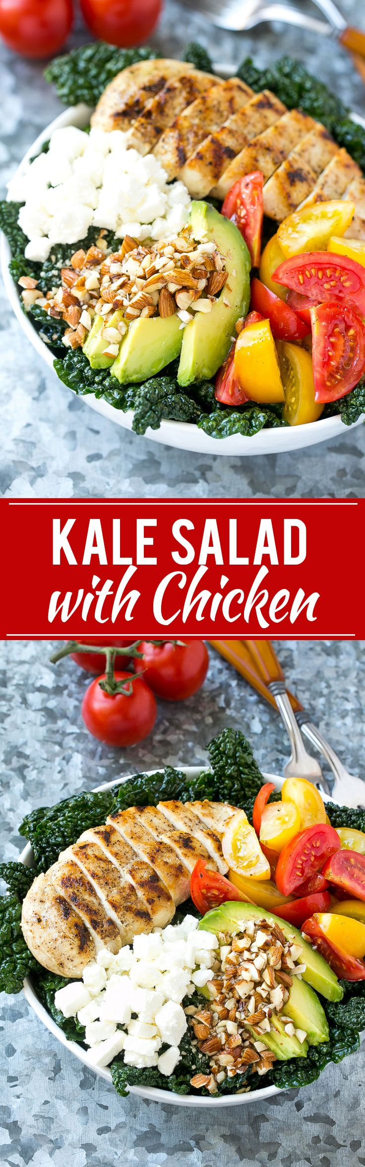 Tuscan Kale Sala - Full of kale, grilled chicken, avocado, tomatoes, almonds and feta cheese, all tossed in a simple lemon dressing. An easy and healthy meal!